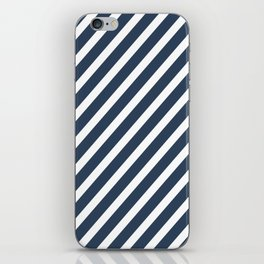 Navy Blue Diagonal Stripes iPhone Skin