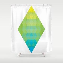 Yellow Cyan Diamond Gradient Shower Curtain