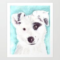 border collie Art Prints featuring Border collie by Art by Frydendal