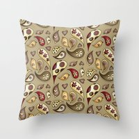 paisley Throw Pillows featuring Paisley by Catru