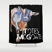 totes Shower Curtains featuring Totes McGoats - Black by Canis Picta
