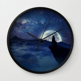 lonely wolf Wall Clock