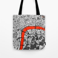 london map Tote Bags featuring London Map by Dizzy Moments