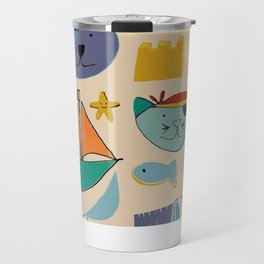 cat and bear pirate at the beach cream Travel Mug