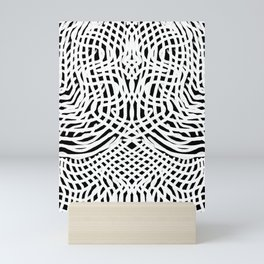 White and Black Abstract Lace Grid Mini Art Print