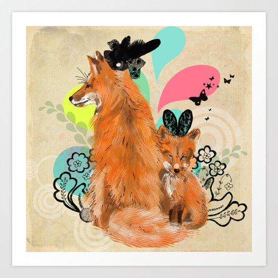 fancy foxes Art Print
