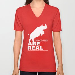 Unicorns Are Real 2, white text Unisex V-Neck