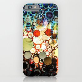 Contemporary Blue Orange Bubble Abstract iPhone Case