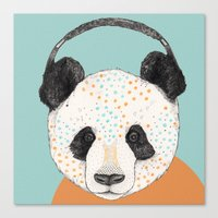 polkadot Canvas Prints featuring Polkadot Panda by Sandra Dieckmann