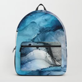 White Sand Blue Sea - Alcohol Ink Painting Backpack