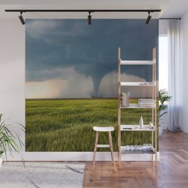 Behind the Scene - Large Tornado Passes Safely Behind a Farmhouse in Kansas Wall Mural