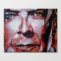 david bowie Canvas Prints featuring Bowie by Ray Stephenson