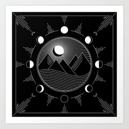 Moon Phases & Mountains Art Print