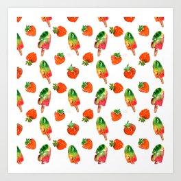 Watercolor strawberry fruit illustration Art Print