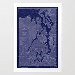 Puget Sound Washington State Nautical Chart Map Print 1956 Dark Blue, Map Art Prints Art Print