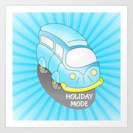 Road Trip Blue Van Art Print