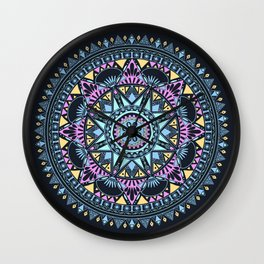 Blue Bohohemian Pattern Wall Clock