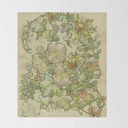 "Alphonse Mucha ""Printed textile design with hollyhocks in foreground"" Throw Blanket"