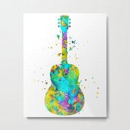 Watercolor Guitar Metal Print