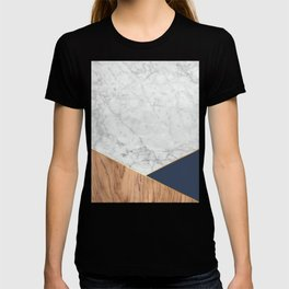 White Marble Wood & Navy #599 T-shirt