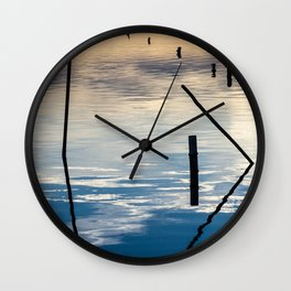 Pieces of wood reflection Wall Clock