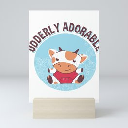 Udderly Adorable Baby Cow Calf Mini Art Print