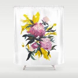 pivoine violette avec jaune Shower Curtain