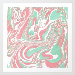 Elegant pink green abstract watercolor marble Art Print