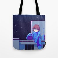 megaman Tote Bags featuring Megaman II  by Thais Magnta Canha