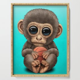 Cute Baby Monkey Playing With Basketball Serving Tray