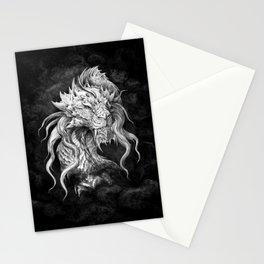 Dark Side Japanese Dragon portrait on black background   Graphit Stationery Cards