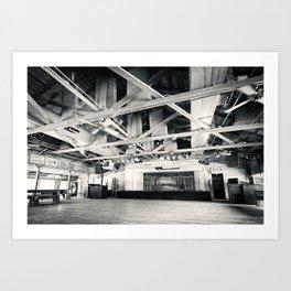 Gruene Hall (interior) - Oldest Dance Hall in Texas (Black & White) Art Print