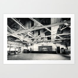 Gruene Hall (interior) - Oldest Dance Hall in Texas (Black & White) Art Print