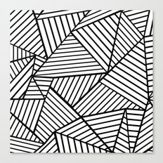 Abstraction Lines Close Up Black and White Canvas Print