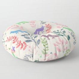 Watercolor Floral & Fox III Floor Pillow