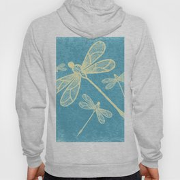 Abstract dragonflies in yellow on textured blue Hoody