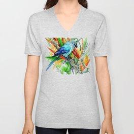 Tropics, Amazon JUngle Parrot and Tropical Foliage Jungle floral design Unisex V-Neck