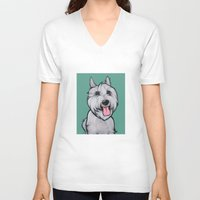 levi V-neck T-shirts featuring Levi the Miniature Schnauzer by Pawblo Picasso