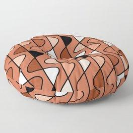 Earthy Mid Century Modern Retro Wave Pattern // Terra Cotta, Burnt Sienna, Clay, Black and White Floor Pillow