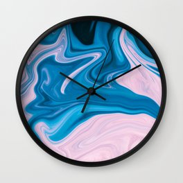 Wavy Pink & Blue (Color) Wall Clock