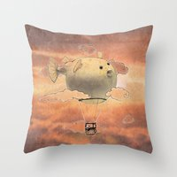 gorillaz Throw Pillows featuring Panda fliying in a Blow fish 2 by Barruf