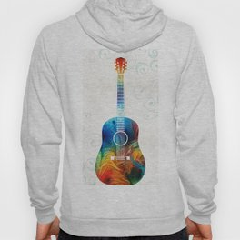 Colorful Guitar Art by Sharon Cummings Hoody