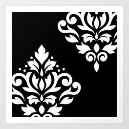 Scroll Damask Art I White on Black Art Print