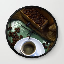 Fresh coffee from the coffee grinder Wall Clock