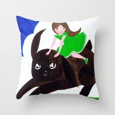 Rabbit Girl Throw Pillow
