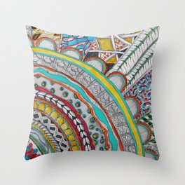 Bright, Colorful, Patterned Rays Throw Pillow
