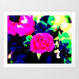 Pink and Black Rose Art Print