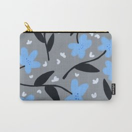 Floral Pattern in Light Blue Carry-All Pouch