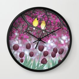 goldfinches, tulips, & flowering crabapple Wall Clock