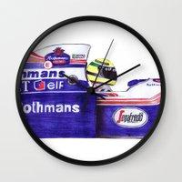 senna Wall Clocks featuring Senna by One Curious Chip